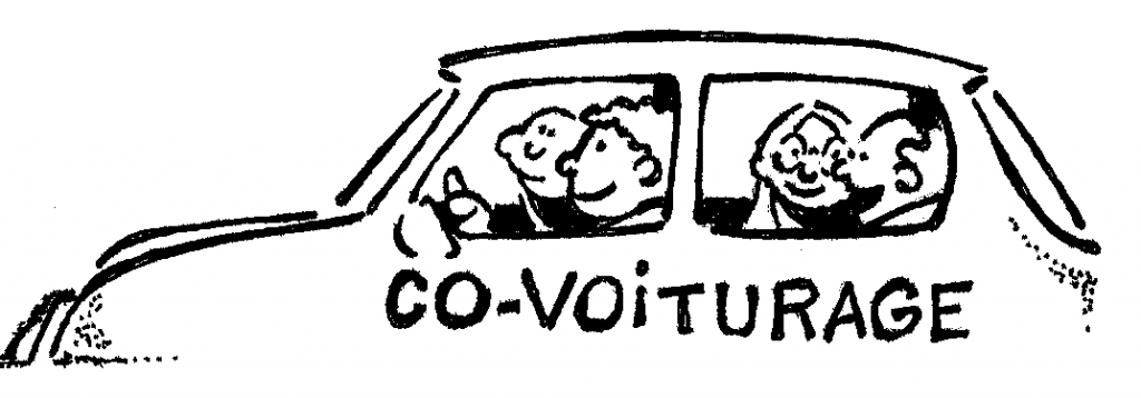 Dessin rigolo qui évoque le CO-VOITURAGE